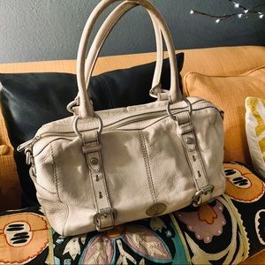 FOSSIL Genuine CowHide Leather Ivory Bag GUC Clean